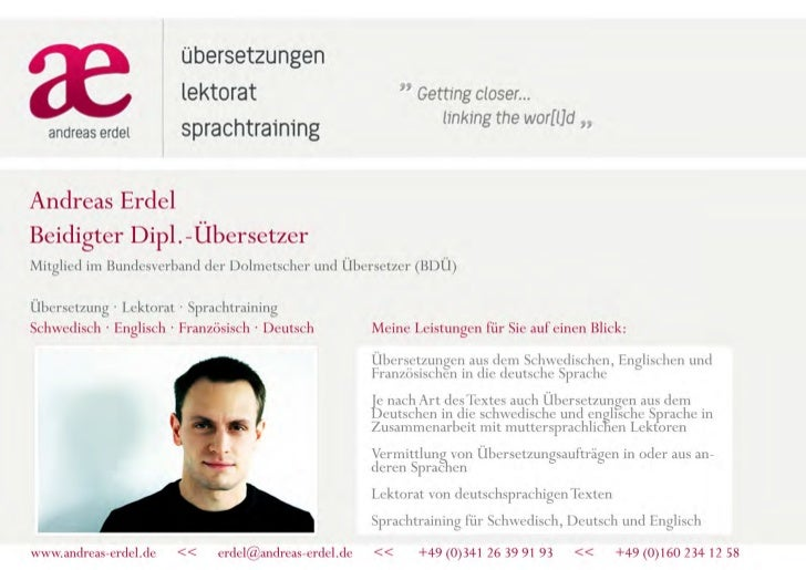 Andreas Erdel (www.andreas-erdel.com), Übersetzer Schwedisch, Deutsch, Englisch, Französisch