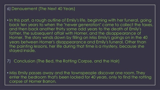 the death of miss emily grierson a mystery A rose for emily summary from litcharts  opens in the twentieth century on the day miss emily grierson 's  year as her father's death,.