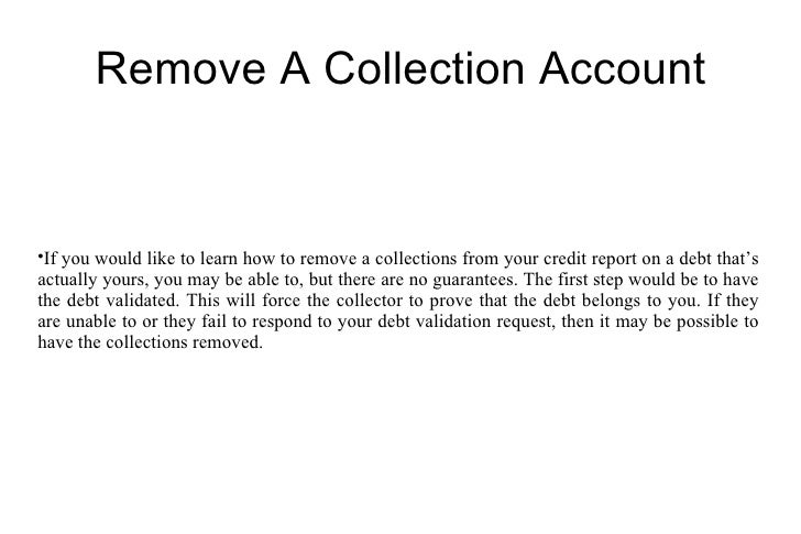 WHAT IS A REMOVED COLLECTION ON CREDIT REPORT
