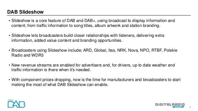 DAB slideshow status and examples Slide 2