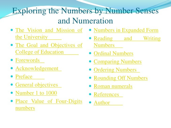Exploring the Numbers by Number Senses              and Numeration  The Vision and Mission of       Numbers in Expanded ...