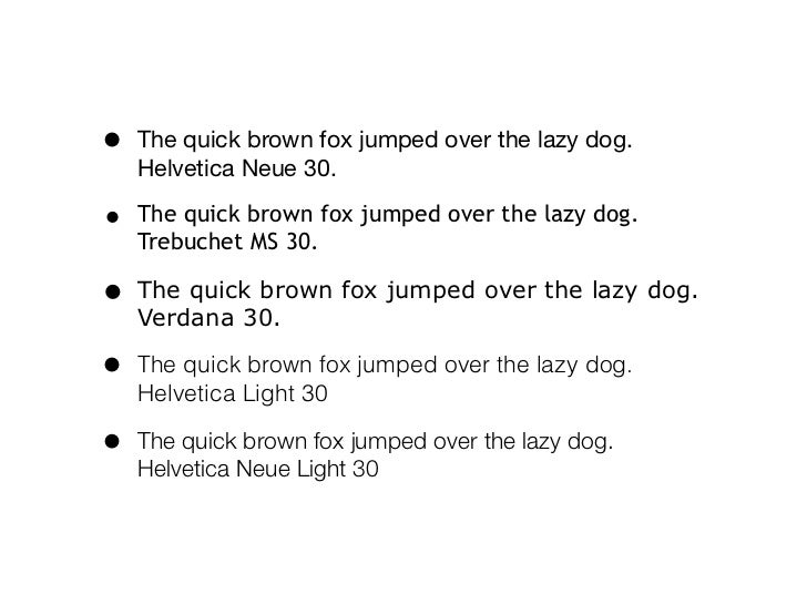 Slide show font sampler, black on white