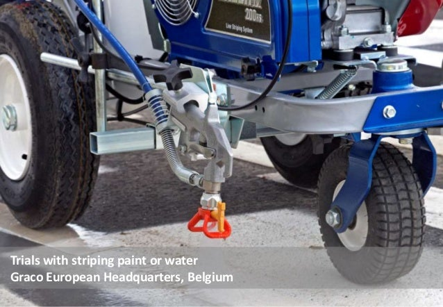 Trials with striping paint or water Graco European Headquarters, Belgium