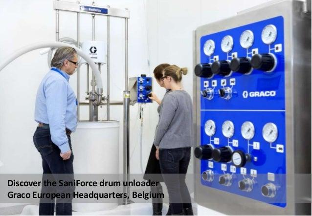 Discover the SaniForce drum unloader Graco European Headquarters, Belgium