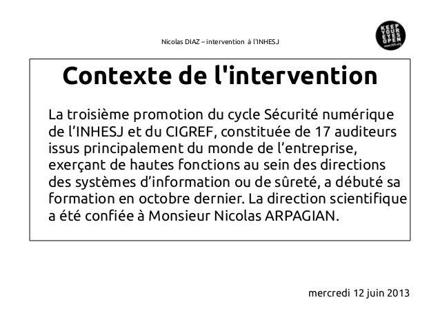 Nicolas DIAZ – intervention à lINHESJContexte de linterventionLa troisième promotion du cycle Sécurité numériquede l'INHES...