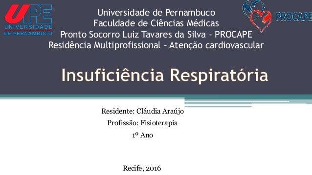 Residente: Cláudia Araújo Profissão: Fisioterapia 1º Ano Universidade de Pernambuco Faculdade de Ciências Médicas Pronto S...