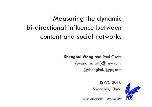 Measuring the dynamic bi-directional influence between content and social networks Shenghui Wang and Paul Groth {swang,pgr...