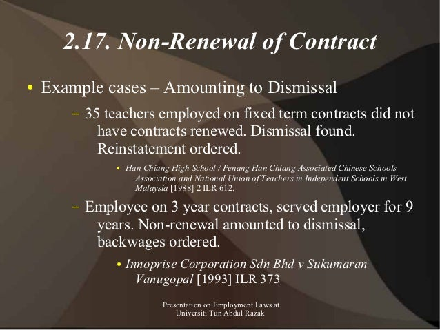 Presentation on employment law in malaysia for masters class unir employment laws at universiti tun abdul razak 44 217 non renewal of contract example thecheapjerseys Image collections