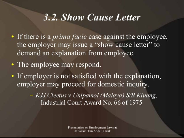 Presentation on employment law in malaysia for masters class unir 69 32 show cause letter spiritdancerdesigns Images