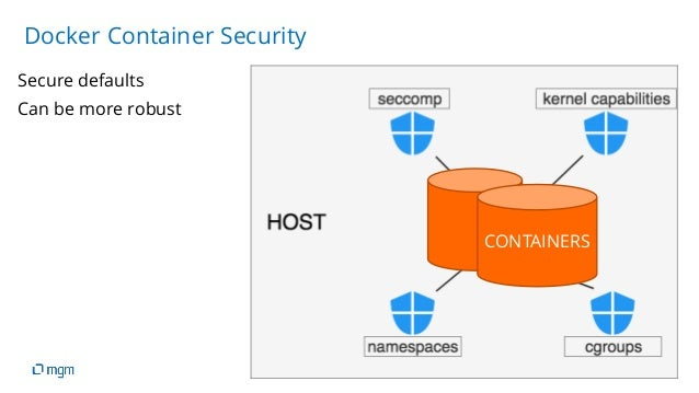 08.04.2019 19 Secure defaults Docker Container Security Can be more robust CONTAINERS
