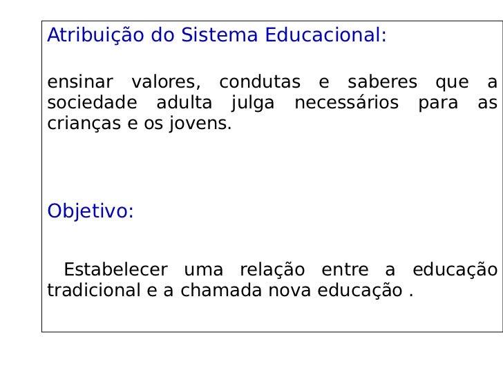 Atribuição do Sistema Educacional:               ensinar valores, condutas e saberes que a sociedade adulta j...