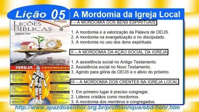 SlideShare Lição 5, A Mordomia da Igreja Local, 3Tr19, Pr. Henrique, EBD NA TV