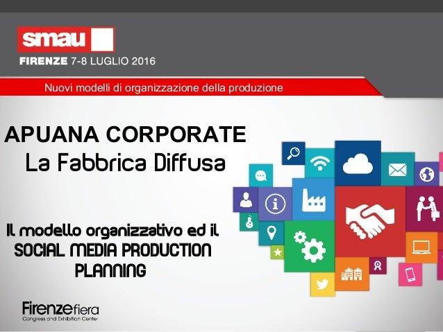 APUANA CORPORATE La Fabbrica Diffusa Il modello organizzativo ed il SOCIAL MEDIA PRODUCTION PLANNING Nuovi modelli di orga...
