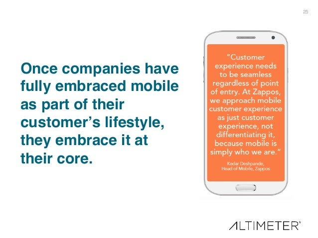 25! Once companies have fully embraced mobile as part of their customer's lifestyle, they embrace it at their core.!