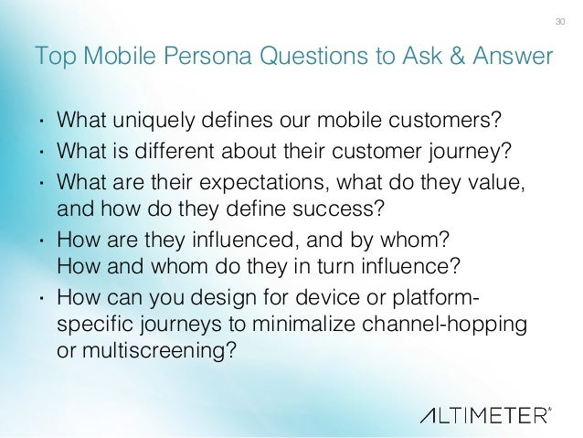 30! Top Mobile Persona Questions to Ask & Answer! · What uniquely defines our mobile customers?! · What is different abou...