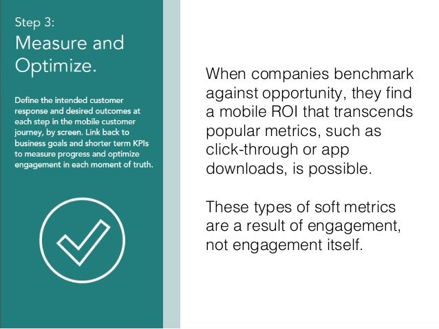 34! When companies benchmark against opportunity, they find a mobile ROI that transcends popular metrics, such as click-thr...