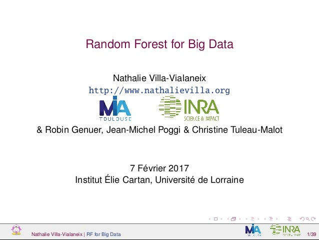 Random Forest for Big Data Nathalie Villa-Vialaneix http://www.nathalievilla.org & Robin Genuer, Jean-Michel Poggi & Chris...