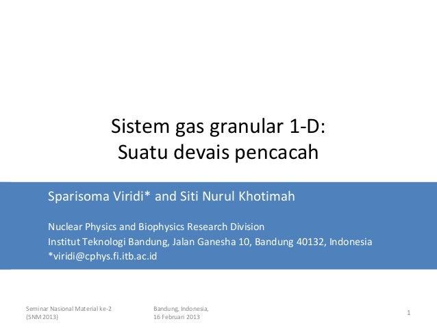 Sistem gas granular 1-D:                              Suatu devais pencacah       Sparisoma Viridi* and Siti Nurul Khotima...