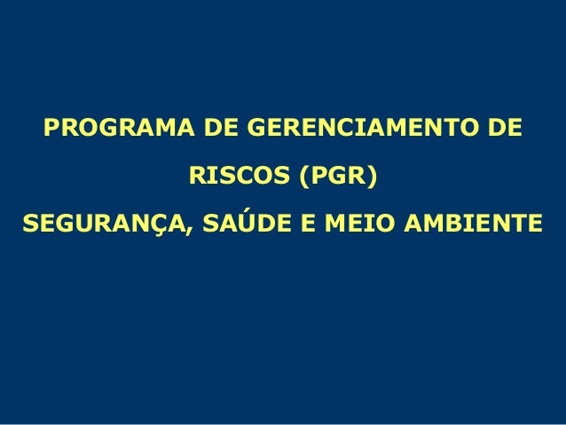 PROGRAMA DE GERENCIAMENTO DE RISCOS (PGR) SEGURANÇA, SAÚDE E MEIO AMBIENTE