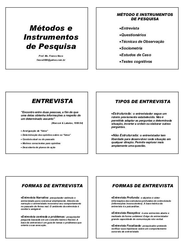 1 Métodos e Instrumentos de Pesquisa Prof. Ms. Franco Noce fnoce2000@yahoo.com.br MÉTODO E INSTRUMENTOS DE PESQUISA •Entre...