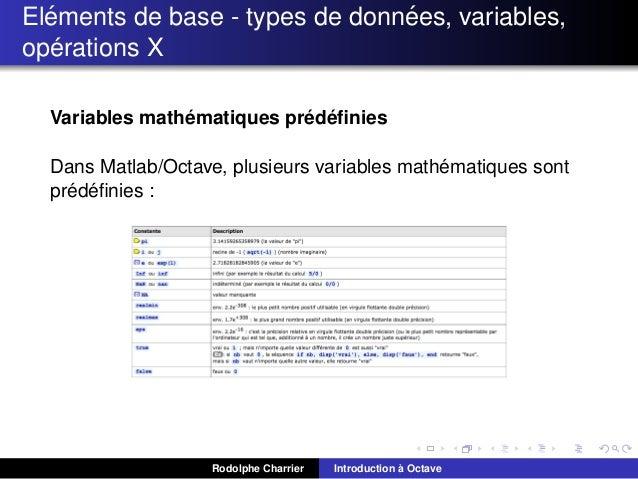 ´ ´ Elements de base - types de donnees, variables, ´ operations X ´ ´ ´ Variables mathematiques predefinies ´ Dans Matlab/...