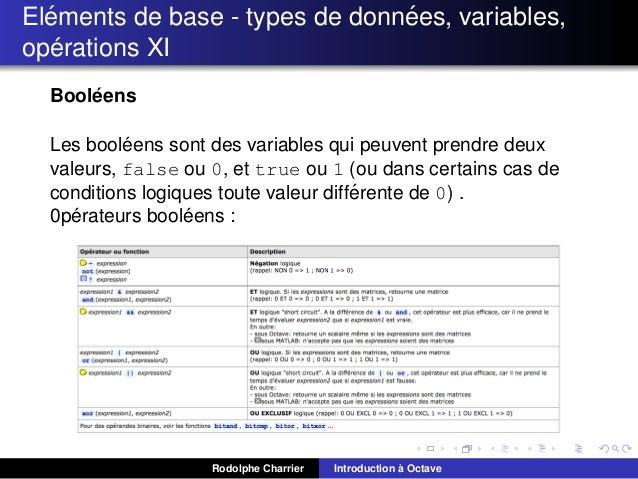 ´ ´ Elements de base - types de donnees, variables, ´ operations XI ´ Booleens ´ Les booleens sont des variables qui peuve...