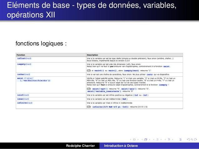 ´ ´ Elements de base - types de donnees, variables, ´ operations XII  fonctions logiques :  Rodolphe Charrier  ` Introduct...