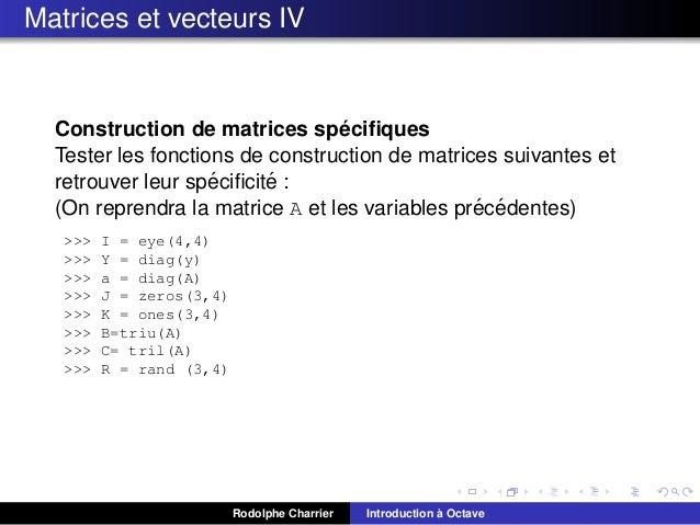 Matrices et vecteurs IV  ´ Construction de matrices specifiques Tester les fonctions de construction de matrices suivantes ...