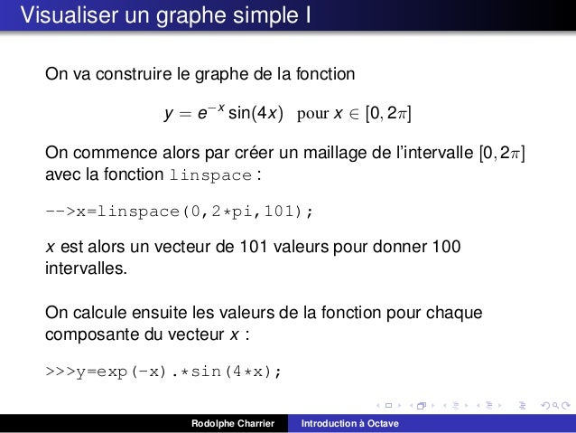 Visualiser un graphe simple I On va construire le graphe de la fonction y = e−x sin(4x) pour x ∈ [0, 2π] ´ On commence alo...