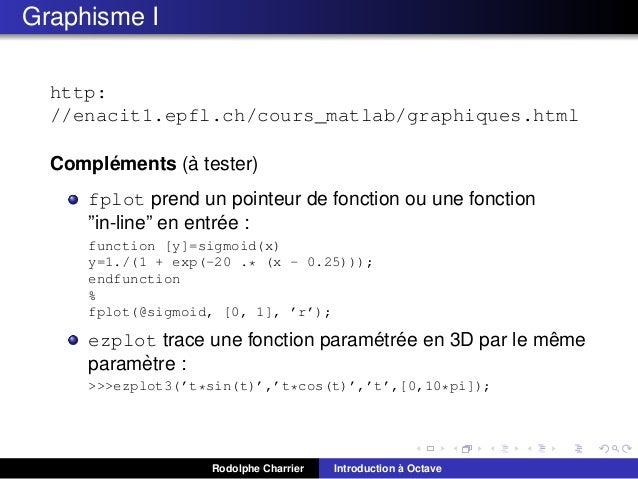 Graphisme I http: //enacit1.epfl.ch/cours_matlab/graphiques.html ` ´ Complements (a tester) fplot prend un pointeur de fon...
