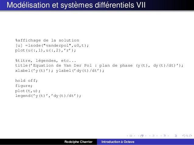 """´ ` ´ Modelisation et systemes differentiels VII  %affichage de la solution [u] =lsode(""""vanderpol"""",u0,t); plot(u(:,1),u(:,..."""