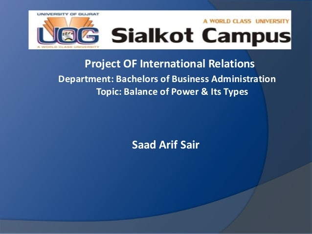 Project OF International Relations Department: Bachelors of Business Administration Topic: Balance of Power & Its Types Sa...