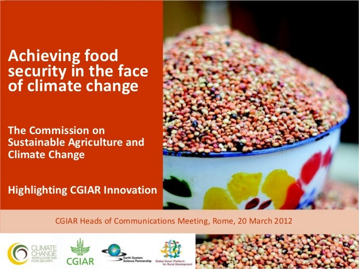 Achieving foodsecurity in the faceof climate changeThe Commission onSustainable Agriculture andClimate ChangeHighlighting ...