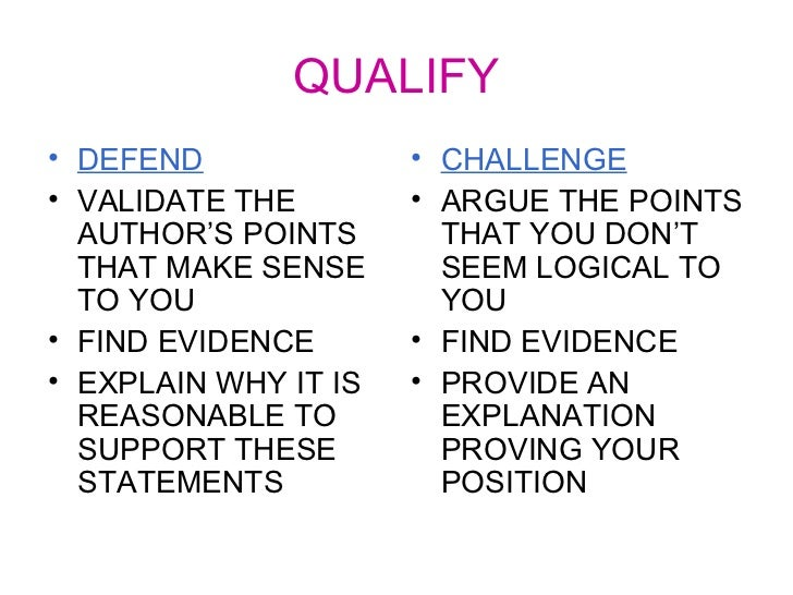 slides on defend challenge and qualify argument essay