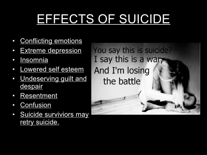 suicide effects Suicidal thoughts signs, symptoms & effects  effects of suicidal thoughts suicide attempts can result in a multitude of negative physical effects the effects experienced depend on the method used during the attempt these can include: total organ failure specific organ failure.