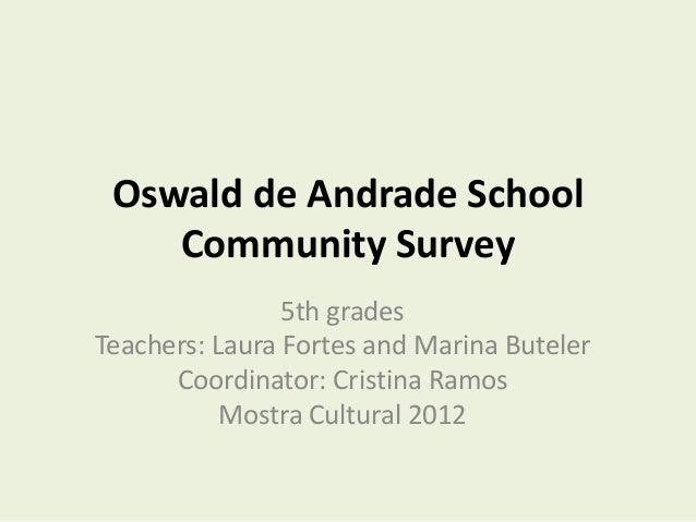 Oswald de Andrade School    Community Survey                5th gradesTeachers: Laura Fortes and Marina Buteler      Coord...
