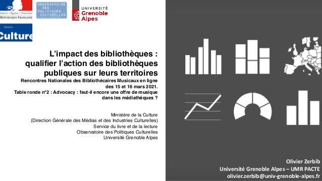 OlivierZerbib UniversitéGrenobleAlpes–UMRPACTE olivier.zerbib@univ-grenoble-alpes.fr L'impact des bibliothèques : ...