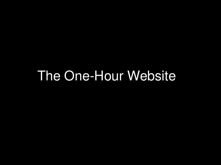 The One-Hour Website<br />
