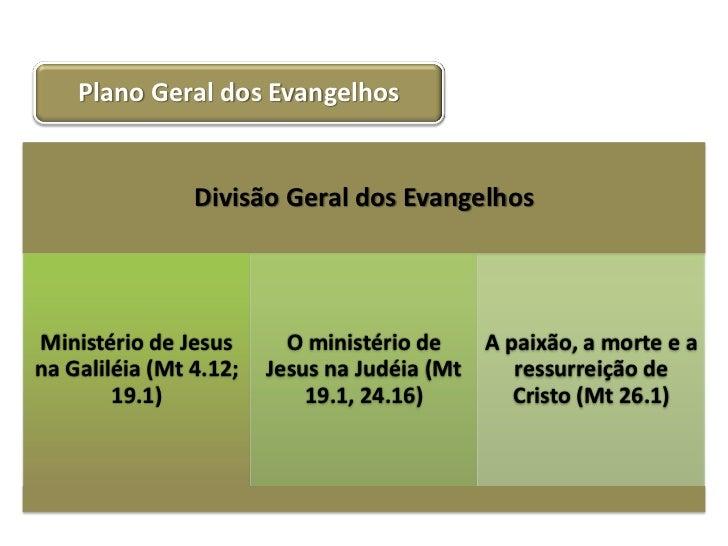 Plano Geral dos Evangelhos                Divisão Geral dos EvangelhosMinistério de Jesus       O ministério de   A paixão...