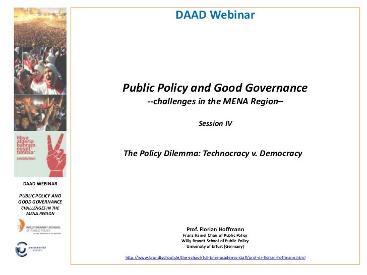 DAAD Webinar                     Public Policy and Good Governance                                --challenges in the MENA...