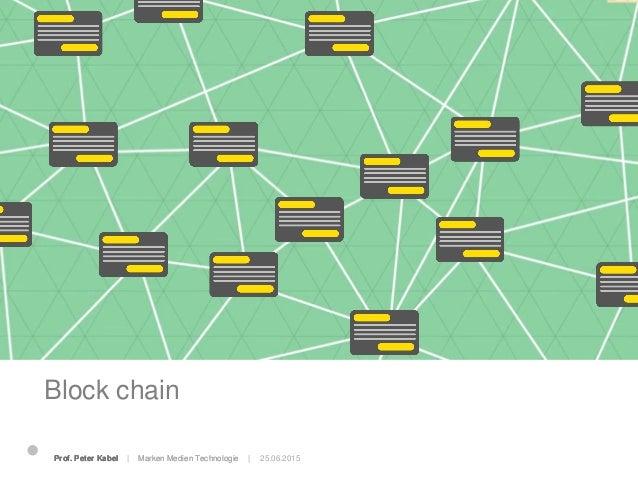 Block chain 25.06.2015Prof. Peter Kabel   Marken Medien Technologie  