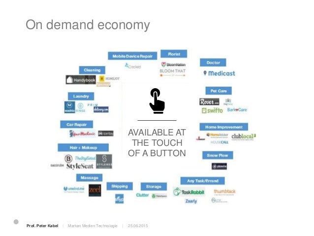 On demand economy 25.06.2015Prof. Peter Kabel   Marken Medien Technologie  