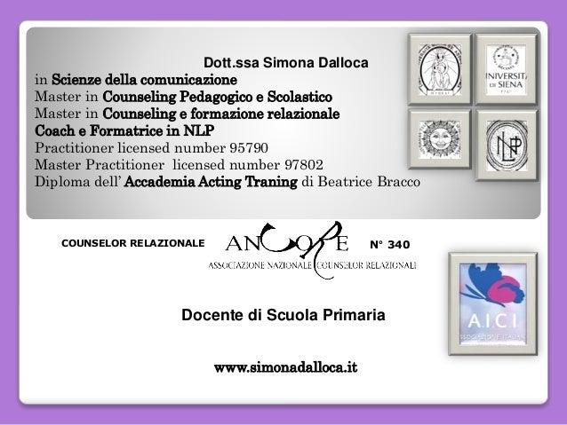 N° 340COUNSELOR RELAZIONALE Dott.ssa Simona Dalloca in Scienze della comunicazione Master in Counseling Pedagogico e Scola...