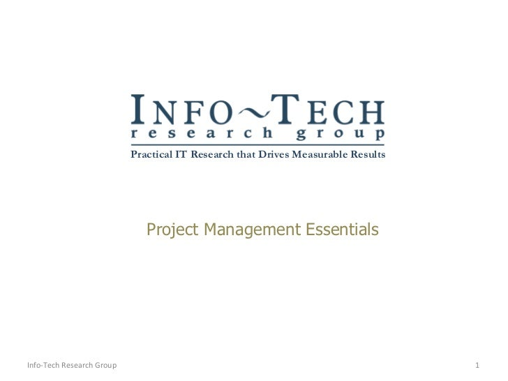Project Management Essentials Info-Tech Research Group