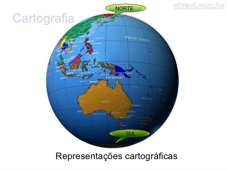 Cartografia  Representações cartográficas  NORTE SUL