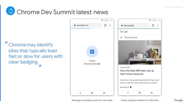 Proprietary + ConfidentialProprietary + Confidential '' Chrome Dev Summit latest news Chrome may identify sites that typical...