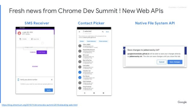 Proprietary + ConfidentialProprietary + Confidential Fresh news from Chrome Dev Summit ! New Web APIs SMS Receiver Contact P...