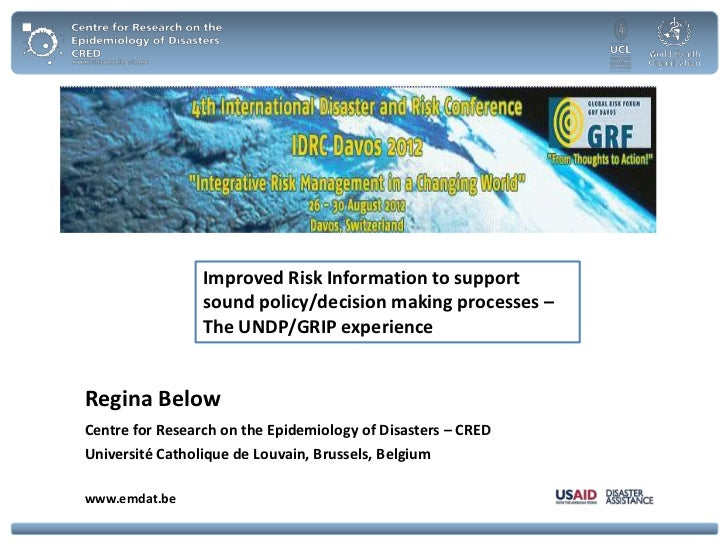 Improved Risk Information to support                 sound policy/decision making processes –                 The UNDP/GRI...