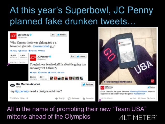 At this year's Superbowl, JC Penny planned fake drunken tweets…  All in the name of promoting their new ―Team USA‖ mittens...