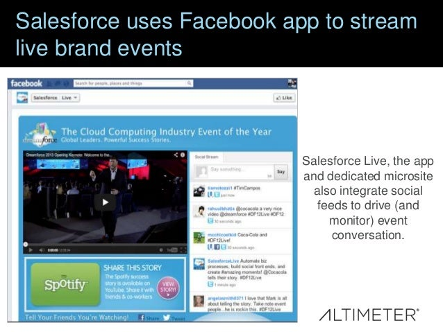 Salesforce uses Facebook app to stream live brand events  Salesforce Live, the app and dedicated microsite also integrate ...